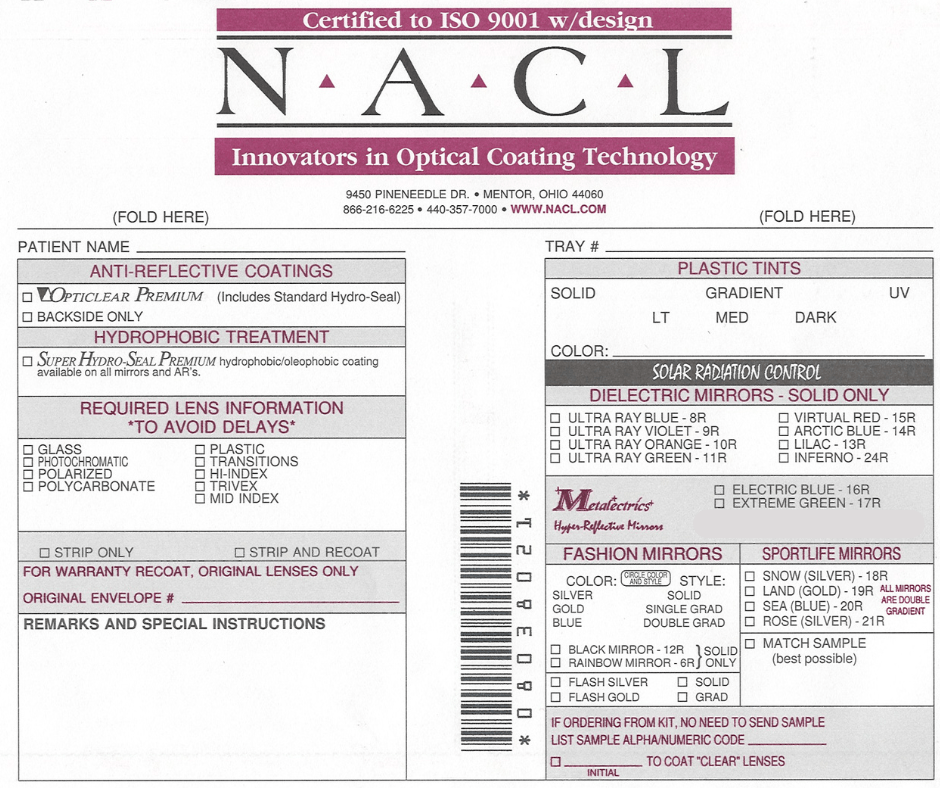 NACL Order Envelope Ophthalmic Coatings